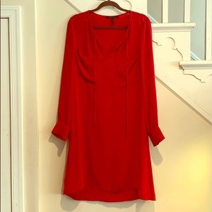 BCBG Maxaria Long Sleeved Red Dress